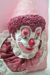 Antique Chalkware Circus Clown Collectible Wall Art 3-d Plaster Musume Quality