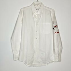 450 Nwot Thom Browne White Button-down Long Sleeve Shirt Fish Design Size L