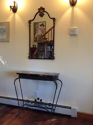 Cast Iron Guilded Mirror and Hall Table Victorian Style Antique