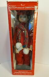 Vintage Telco Motion-ettes Of Christmas Display Figure Boy Caroler 24 With Box