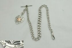 Rare Edwardian Hm Sterling Silver Graduated Albert Chain T Bar And Fob 1903