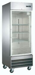 New Single Glass Door Stainless Commercial Refrigerator Cooler Nsf Reach-in