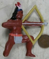 Vintage 1930's Cast Lead Manoil Barclay Indian Kneeling With Bow And Arrow 3