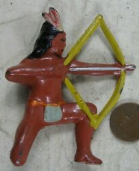Vintage 1930's Cast Lead Manoil Barclay Indian Kneeling With Bow And Arrow 2