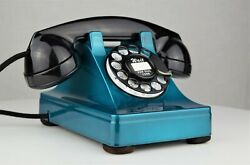 Vintage Original Western Electric 302 Candy Teal Chromium Rotary Dial Telephone