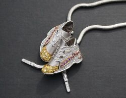 18kt White Gold Sneaker Shoe White & Yellow Diamond Necklace Pendant London