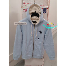 Abercrombie And Fitch Mens Full Zip Icon Hoodie Sweatshirts Light Blue Size Medium