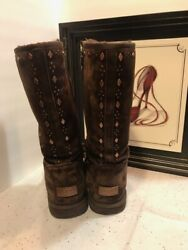 UGG Australia Brown Suede Boots With Metal Design Pieces Womens Size 7