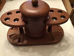 Vintage Duk It Walnut Wood, Glass And Leather Humidor And 8 Pipe Stand Nice