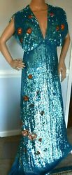 New 2,995 Temperley London Wild Horses Embroidered Long Dress Gown Uk 10 / Us 6
