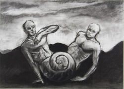 Kevin Mortensen Untitled Two Figures And A Shell - Signed Surreal Charcoal And03977