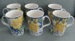 New With Tags Set Of 6 Royal Doulton Expressions Blue China Florals Yellow Mugs