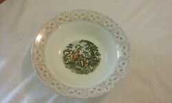 Vintage The Cronin China Co. Bowl 54 With Colonial Couple And Platter 66