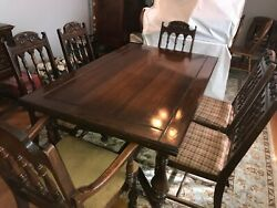 Antique Dining Set Carved Oak Circa 1900 To 1930and039s