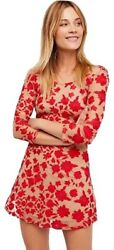 For Love And Lemons Red Tan And Temecula Bow Night Out Dress Size Xs 215