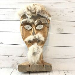 Alaskan Hand Carved Art Mask Caribou Hide And Caribou Antler Crude Abstract Unique