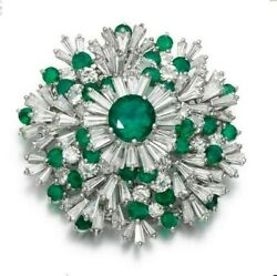 Simulated Green Round White Baguette Flower Design Cluster Handmade Brooch Pin