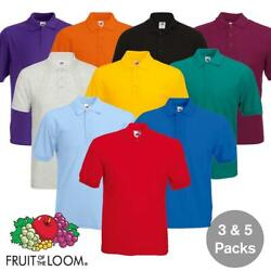3 And 5 Pack Mens Fruit Of The Loom 65/35 Polo Shirts Plain Unisex Men Tee T Shirt