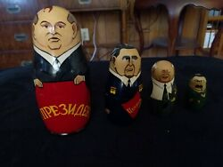 5 Vintage Handcrafted And Painted Made In Ussr Russian Lettering Nesting Dolls