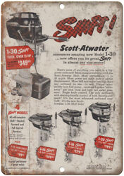 Scott-atwater Outboard Motors Vintage Boating 10 X 7 Reproduction Metal Sign