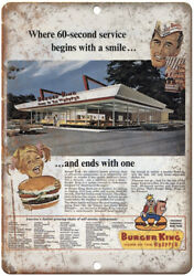 Burger King Home Of The Wopper Vintage Ad 10 X 7 Reproduction Metal Sign N110