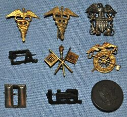 Lot Of 9 Wwii Era Sweetheart Pins - Signal Corps Medical Qm Usn And More...