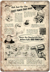 Millers Falls Power Tools Vintage Ad 10 X 7 Reproduction Metal Sign Z40