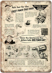 Millers Falls Tools Vintage Ad 10 X 7 Reproduction Metal Sign Z157