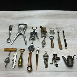 Mixed Lot Of 17 Antique And Vintage Corkscrew Wine Bottle Openers Barware Brass