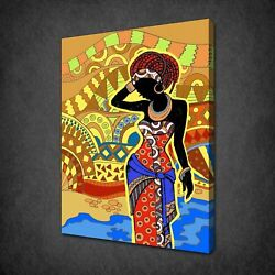 African Theme Lady Canvas Print Picture Wall Art Free Fast Free Uk Delivery