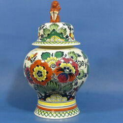 F210 Flowers On 11½ Polychrome Delft Covered Vase / Urn By Goedewaagen