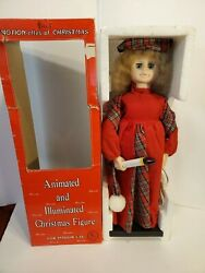 Vintage Telco Motion-ettes Of Christmas Display Figure Girl Caroler 24 With Box