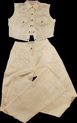 Authentic Mcm Pants And Shirt Outfit Color Cream/ White/ Gold