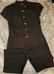 Beautiful Authentic Mcm Black Pants And Shirt Outfit - Size M