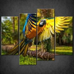 Blue And Yellow Macaws Canvas Print Picture Wall Artset Of 4 Free Delivery