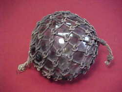 Antique Japanese Glass Fishing Float Buoy With Roped Netting Estate Item