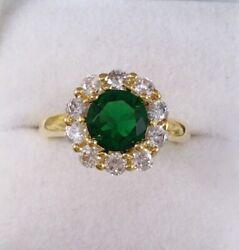 Vintage Jewellery Gold Ring Emerald White Sapphires Antique Deco Jewelry 9 S