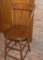Unique Antique Windsor Schoolmaster's Chair With Elevated Seat Circa 1800's