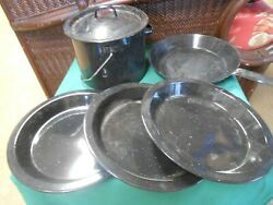 Great Camping Set Agateware Cookware 4 Plates-frying Pan And Pot