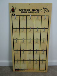 Vintage Red Top Electric Tool Display Rack Sign Advertisement Store Brushes