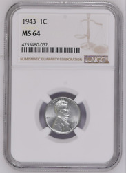 1943 Ngc Ms 64 1c Lincoln Wheat Small Number 4