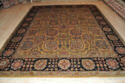 8and039 X 10and039 Handmade Wool Area Rug Hand Knotted Mustard Color Black And Gold Rust