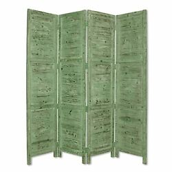 Wooden 4 Panel Foldable Floor Screen With Textured Panels Green