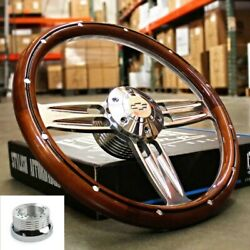 14 Polished Dark Wood Steering Wheel Bowtie Horn For 1974-94 Chevy Pickup Truck