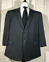 Joseph And Feiss Menandrsquos 50r Two Button Suit Jacket Coat Blazer Dark Gray Striped