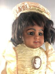 17 Antique German Bisque Head S And H 739 Beautiful Black Bebe Doll Rare 18019