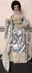 Franklin Mint Victorian Boudior Gibson Girl Doll Blue Night Clothes And Mirror Box