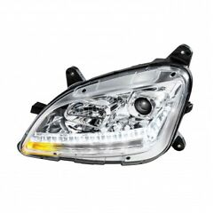 Projection Headlight W/ Led Sequential Turn/drl For Peterbilt - Chrome - Driver