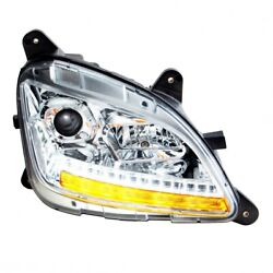 Projection Headlight W/ Led Sequential Turn/drl For Peterbilt- Chrome- Passenger