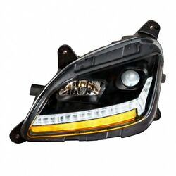 Projection Headlight W/ Led Sequential Turn/drl For Peterbilt - Blackout -driver